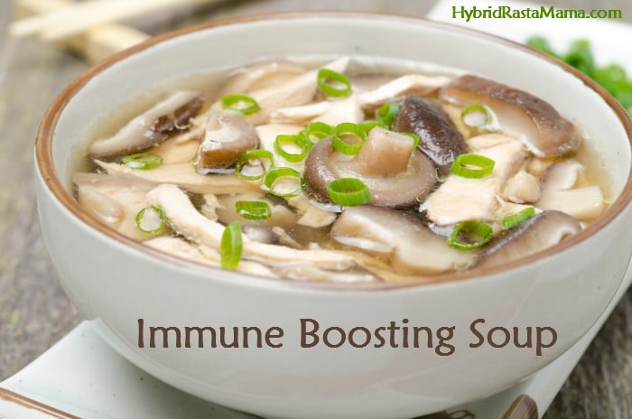 Ward off illness with this grain free immune boosting soup! It is packed full of medicinal Chinese herbs, immune boosting vegetables, and of course the supportive benefits found in the chicken/beef stock itself. From HybridRastaMama.com