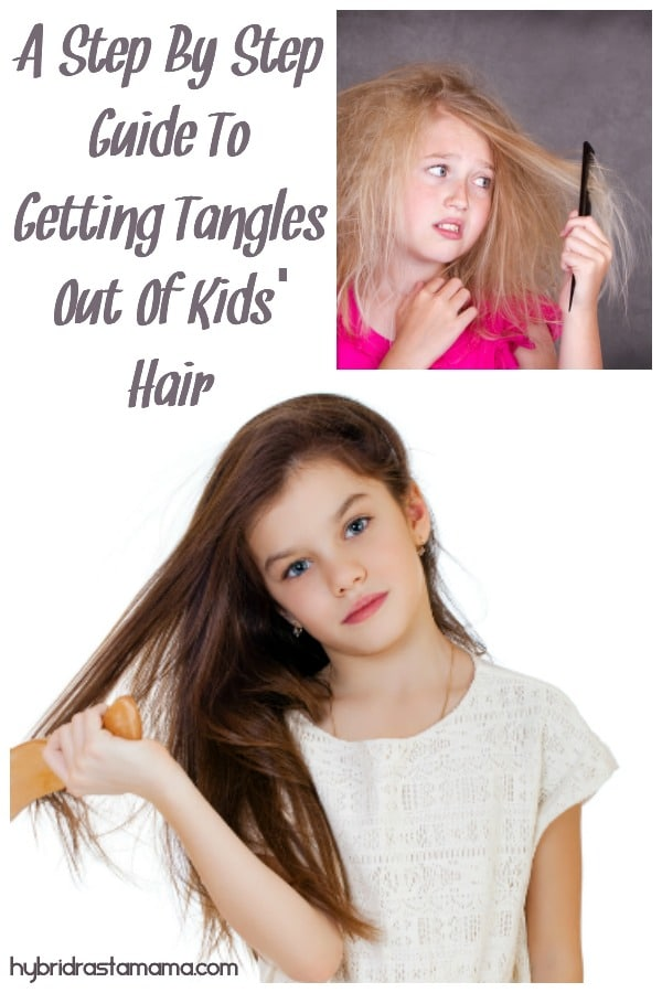Girl with crazy tangled hair trying to comb it out in this step by step guide to getting tangles out of kids' hair