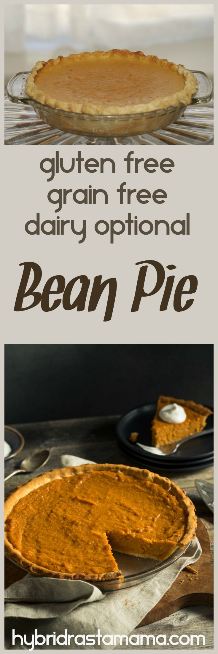 Ever heard of bean pie? Me neither. When I discovered it and took my first bite I was hooked for life. You will be too. This gluten free  and grain free version from HybridRastaMama.com is divine.