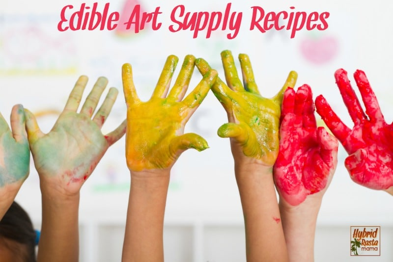 Toddlers, preschoolers & even school aged children are known for their love of arts & crafts. The messier the better. Grab these edible art supply recipes from HybridRastaMama.com.