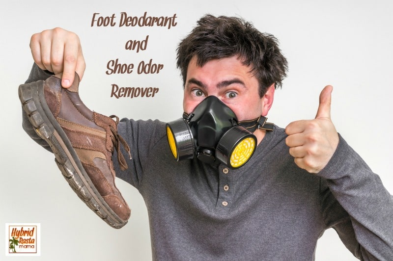 Stinky feet got you down? This epic post takes you on a journey of stinky feet & shoes complete with an awesome foot deodorant & shoe odor remover recipe. Brought to you by HybridRastaMama.com.