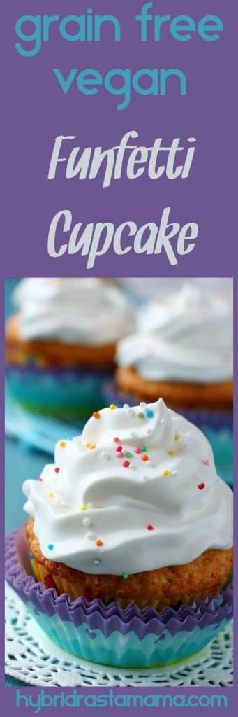 An easy to make, healthy, and most of all delicious gluten free and vegan funfetti cupcake. It is free of common allergens while still rich in flavor. from HybridRastaMama.com