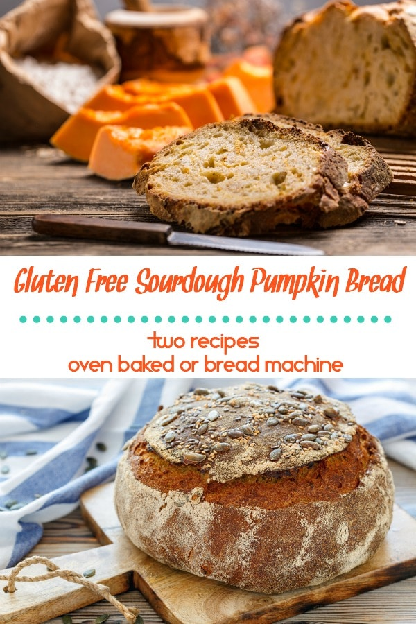 Looking for a delicious and easy to make gluten free sourdough pumpkin bread recipe? How about two? One for the oven and the other for a bread machine. Egg free, dairy free, and allergen friendly.