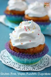 An easy to make, healthy, and most of all delicious gluten free and vegan funfetti style cupcake. It is free of common allergens while still rich in flavor. From HybridRastaMama.com