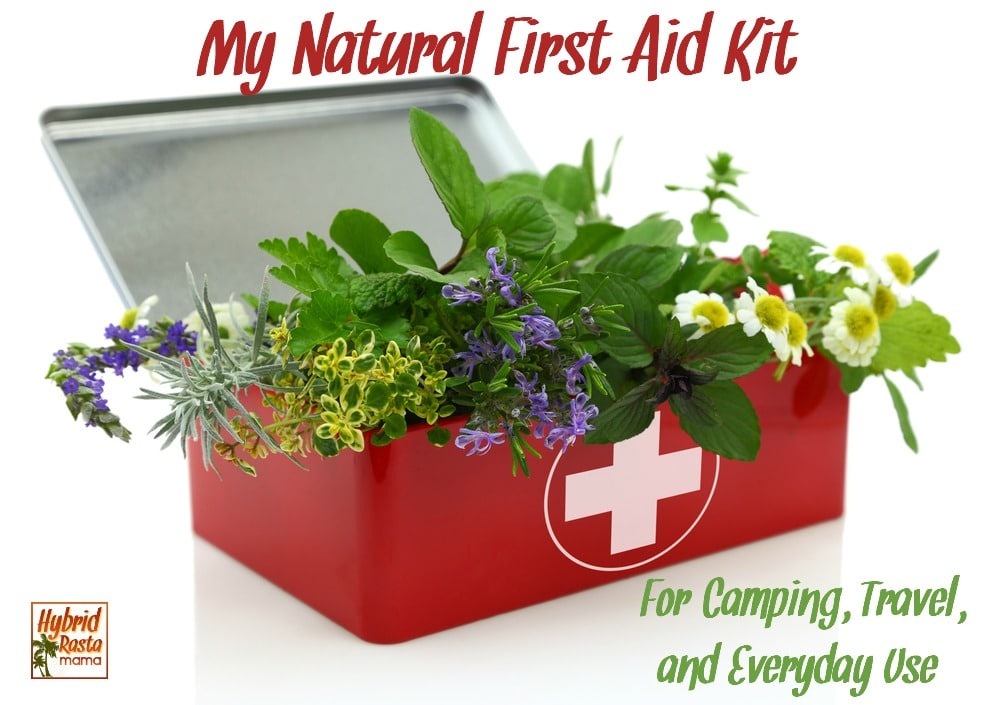 Fresh herbs inside natural first aid kit