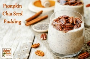 This seasonal pumpkin chia seed pudding is a nourishing treat all year long! Easy to make, it is delicious for breakfast, lunch, or snacktime! Brought to you by HybridRastaMama.com