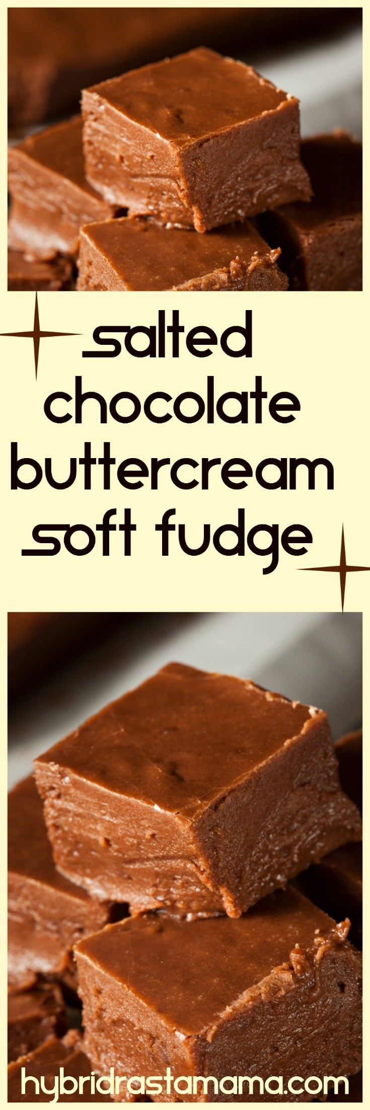 Do you love a rich, creamy, soft fudge? How about one that takes seconds to make? Try your hand at this versatile gluten free salted chocolate buttercream soft fudge. It is delicious and very nourishing! Created by HybridRastaMama.com.