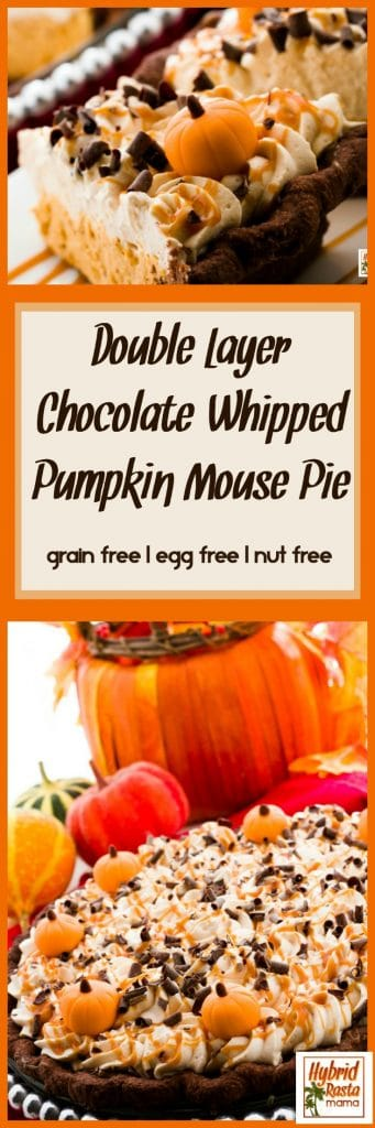 This Double Layer Chocolate Whipped Pumpkin Mousse Pie is a must make for your Thanksgiving desert. It will absolutely blow your guests away! This pumpkin mousse pie is gluten free, grain free, egg free, and nut free. It relies on tigernut flour for the crust. From HybridRastaMama.com