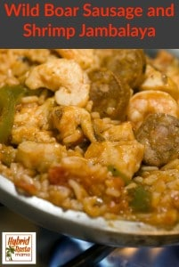 Wild Boar Sausage and Shrimp Jambalaya from HybridRastaMama.com
