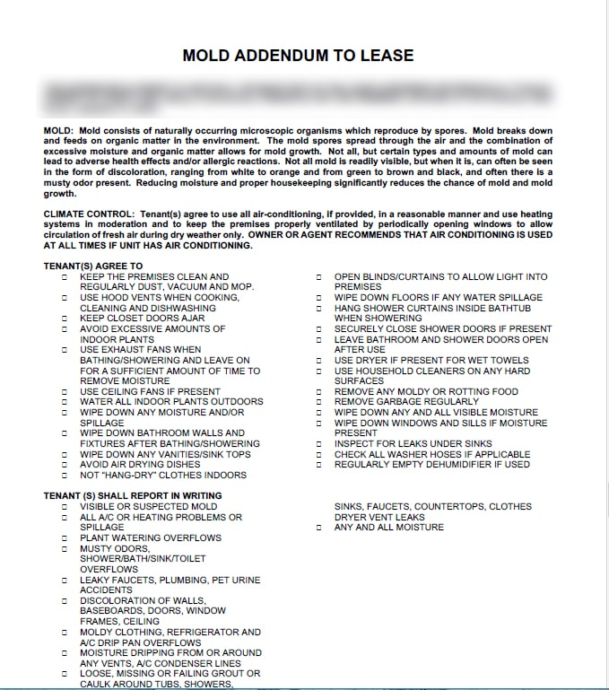 Mold addendum to lease